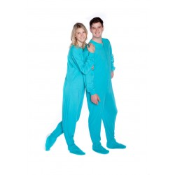 Adult Jersey Footed Pajamas in Turquoise Color