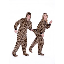 Leopard Print Plush Hoodie Footed Pajamas