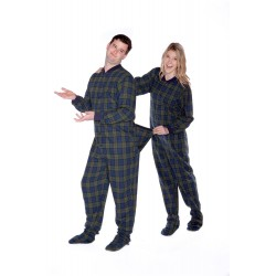 Navy Blue & Green Adult Flannel Pajamas