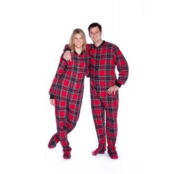 Red & Black Flannel Footed Unisex Pajamas
