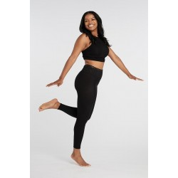 Black Opaque Footless Tights For Tops